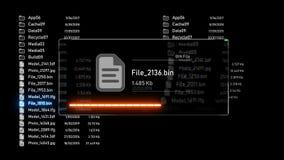 Futurystyczny interfejs uploading, ściąganie kartotek proces/ ilustracja wektor