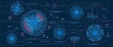 Futurystyczny interfejsu Hud projekt, Infographic elementy, technika i nauka, analiza temat, szablon UI i Wirtualny dla App ilustracja wektor