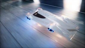 Futurystyczny latający samochodu postu jeżdżenie w sci fi tunelu, coridor Pojęcie przyszłość świadczenia 3 d ilustracja wektor