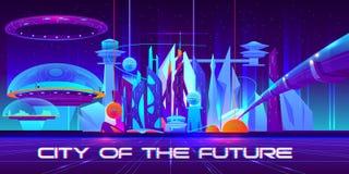 Futurystyczny metropolia krajobraz ilustracja wektor