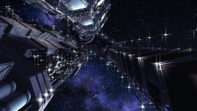 Futurystyczny międzygwiazdowy statek kosmiczny ilustracji