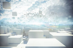 Futurystyczny miasta 3d rendering Obrazy Royalty Free