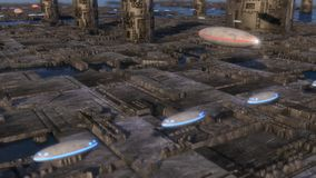Futurystyczny miasto i statki kosmiczni Zdjęcie Stock