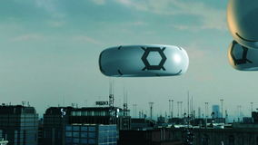 Futurystyczny miasto i UFOS