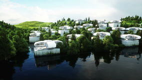 Futurystyczny miasto, wioska Pojęcie przyszłość widok z lotu ptaka Realistyczna 4K animacja zbiory wideo