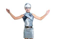 Futurystyczny mod dzieci dziewczyny srebra makeup Zdjęcie Stock