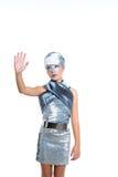 Futurystyczny mod dzieci dziewczyny srebra makeup Fotografia Royalty Free