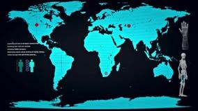 Futurystyczny monitor z usterkami Pokazuje świat Pod żywego trupu atakiem royalty ilustracja