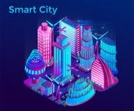 Futurystyczny nocy miasto iluminuje neonowymi światłami w isometric stylu ilustracja wektor