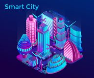 Futurystyczny nocy miasto iluminuje neonowymi światłami w isometric stylu ilustracji