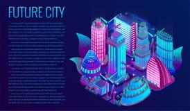 Futurystyczny nocy miasto iluminuje neonowymi światłami w isometric stylu royalty ilustracja