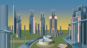 Futurystyczny Nowożytny miasto budynek ilustracja wektor