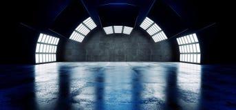 Futurystyczny Nowożytny Pusty Duży Ciemny Odbijający beton Wyginająca się Sci Fi Hall Grunge świateł Dużej Białej Błękitnej Praco ilustracja wektor
