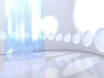 Futurystyczny nowożytny round salowy z szkłem ilustracja wektor