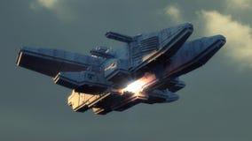 Futurystyczny obcy statek kosmiczny ilustracji