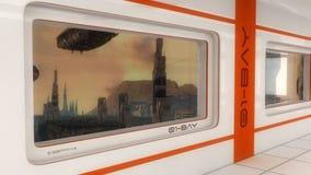 Futurystyczny okno i scifi miasto Fotografia Stock