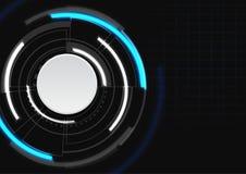 Futurystyczny okrąg z błękitnym i białym kolorem na ciemnym tle Ilustracja Wektor