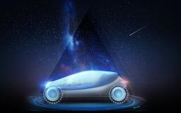 Futurystyczny pojęcie samochód nad astronautycznym tłem Zdjęcia Stock