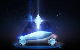 Futurystyczny pojęcie samochód nad astronautycznym tłem Fotografia Royalty Free