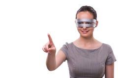 Futurystyczny pojęcie z techno cyber kobietą odizolowywającą na bielu Zdjęcia Stock