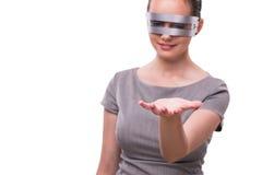 Futurystyczny pojęcie z techno cyber kobietą odizolowywającą na bielu Zdjęcie Stock
