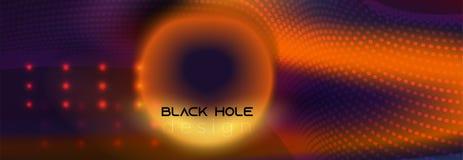 Futurystyczny pomarańczowy czarnej dziury wektoru tło ilustracja wektor