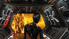 Futurystyczny robot w statku kosmicznym patrzeje głęboką przestrzeń Fotografia Royalty Free