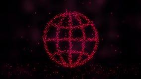 Futurystyczny sieci technologii komunikacyjnej tło Sfera z jarzyć się punkty Animacja formacja royalty ilustracja