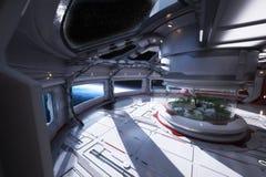 Futurystyczny staci kosmicznej wnętrze przegapia planetę z centrum atrium ilustracja wektor
