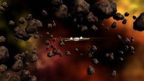 Futurystyczny statku kosmicznego latanie w przestrzeni ilustracja wektor