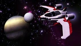 Futurystyczny statku kosmicznego latanie w układzie słonecznym ilustracji