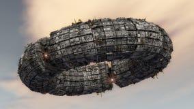Futurystyczny statku kosmicznego UFO ilustracja wektor
