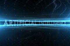 Futurystyczny sztucznej inteligenci słowo na cyberprzestrzeni tle Obrazy Royalty Free