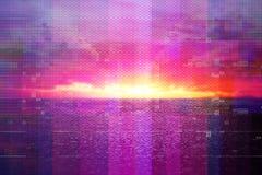 Futurystyczny tło 80's retro styl Digital lub Cyber powierzchnia neonowi światła i geometryczny wzór, test parawanowa usterka fotografia royalty free