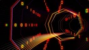 Futurystyczny technologii cyberprzestrzeni tunel z ewidencyjną strumień ilustracją ilustracja wektor