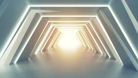 Futurystyczny tunel z fluorescencyjnymi światłami 3D odpłaca się Obraz Royalty Free