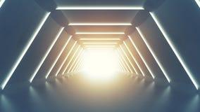 Futurystyczny tunel z fluorescencyjnymi światłami 3D odpłaca się obrazy stock