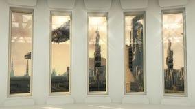Futurystyczny wnętrza i scifi miasto Obraz Royalty Free