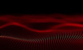 Futurystycznych Czerwonych cząsteczek Falowy Abstrakcjonistyczny tło - Kreatywnie projekta element zbiory