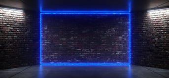 Futurystycznych tana klubu błękita Neonowych Rozjarzonych Purpurowych menchii sceny Retro Elegancki Pusty pokój Z Odbijającą Grun royalty ilustracja