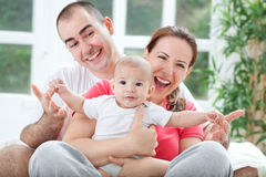 Fuuny happy smiling family photo Royalty Free Stock Photo