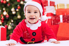 Fuuny smiling baby child santa claus Stock Photography