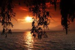 Fuxian湖日落 库存照片
