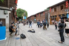 Fuzhou Ancient Commercial Street and stray singer royalty free stock photography