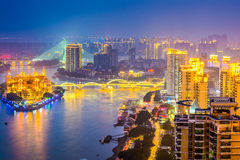 Fuzhou, China Cityscape. On the Min River Royalty Free Stock Image