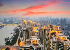 Fuzhou China Cityscape. Fuzhou, China cityscape on the Min River Royalty Free Stock Photo