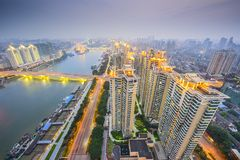 Fuzhou, China Cityscape. Overlooking the Ming River Royalty Free Stock Photos