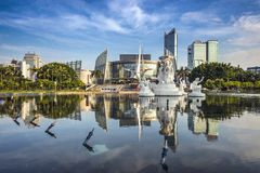 Fuzhou China. Fuzhou, China cityscape at Wuyi Square Fountain Stock Images