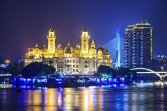 Fuzhou, China. Fuzhou, Fujian, China cityscape on the Ming River Royalty Free Stock Photography