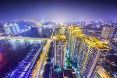 Fuzhou, China. Fuzhou, Fujian, China cityscape on the Ming River Royalty Free Stock Photos